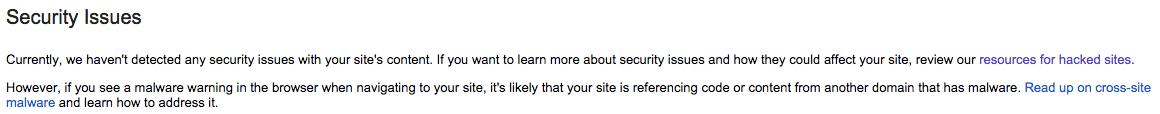 Google Webmaster Tools didn't sense an attack